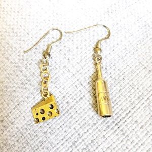 Wine and cheese earrings for your favorite wino